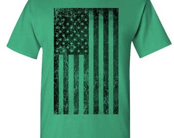 SUBDUED Grunge AMERICAN FLAG - t-shirt short or long sleeve your choice!