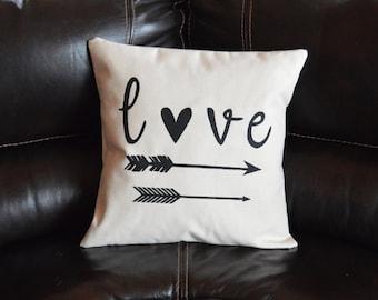 Love Arrow Pillow Decorative Pillow Housewarming Gift Throw Pillow Calligraphy Pillow
