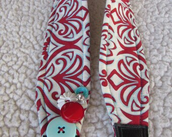 Unique one of a kind Red and Teal Swirls Camera Strap