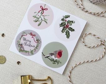 Christmas Stickers, Festive Envelope Seals