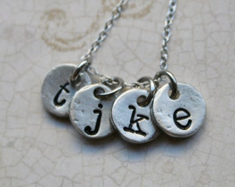 Initial Necklace Handstamped Mother's Jewelry Pewter Initial Jewelry Initial Pendant Initial Charms Circle Necklace Mommy Necklace