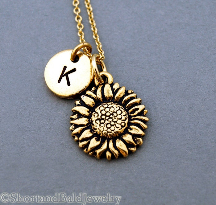 Sunflower necklace gold sunflower charm sunflower jewelry ampliar aloadofball Image collections