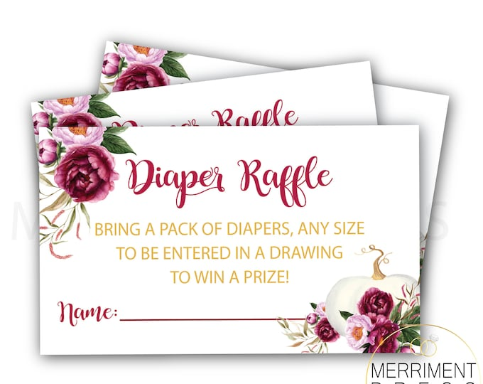Fall Pumpkin Diaper Raffle // Gold // Watercolor // Burgundy // Gold // Roses // Peonies // Floral // Printed Cards // CARMEL COLLECTION