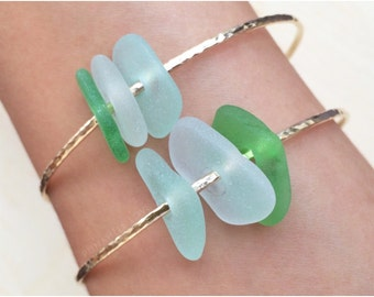 Beach Glass Bangle - Beach Glass Bracelet - Sea Glass Bangle - Sea Glass Bracelet