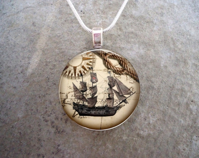 Pirate 12 - Pirate Galleon Jewelry - Glass Dome Pendant Necklace - Vintage Style Image