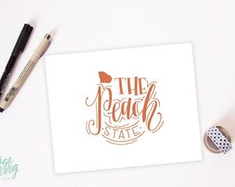 Georgia - The Peach State - Hand Lettered Print