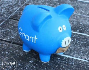 Piggy Bank for Kids - Personalized Piggy Bank Boy - Custom Baby Gift Boy - Piggy Bank with Name - Blue Piggy Bank - New Baby Boy Gift