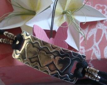 Fine Silver Bracelet - Heart Cord Bracelet - Appliqued - OOAK