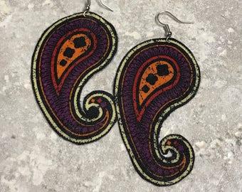 Handmade textile drop earrings in paisley pattern