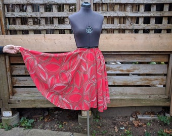 Vintage 1980s Red with Black Gray and White Full Circle Knee Length Skirt Size Small Medium