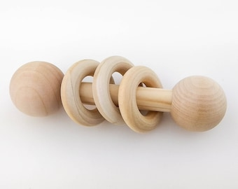 Wooden Rattle Plain Organic Baby Teething Rings Heirloom Toy