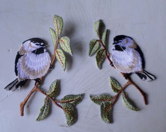 x 1 pair patches-patch pattern bird 8 x 6.5 cm @A12 fusible
