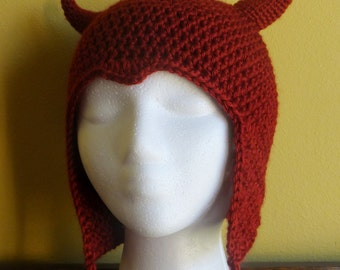 Red Devil Hat with Earflaps, adult sizes