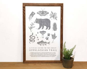 Appalachian Trail Field Guide Letterpress Print | Hiking Wall Art | State Wall Art | Educational Science Illustration | Botanical Print