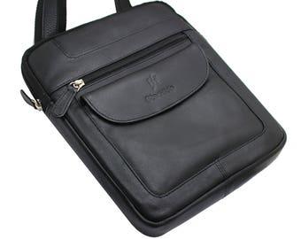 Starhide Mens Womens Distressed Hunter Black Real Leather Cross Body / Travel Messenger Bag For Ipad Tablet 505