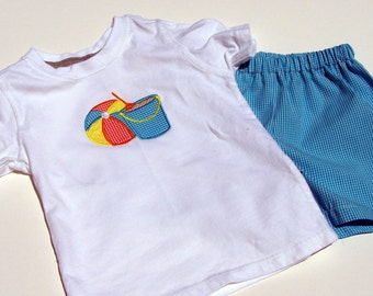 Beach Ball and Sand Pail tee shirt and shorts