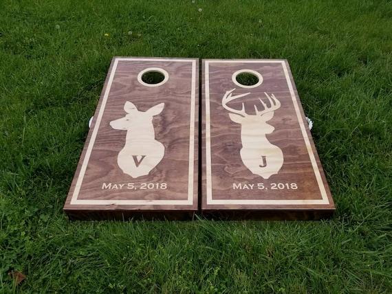 Natural wood logo Cornhole Sets