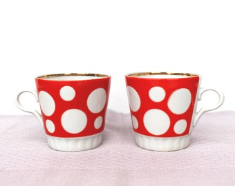 Polka dot mugs Soviet vintage red polka dot cup set of 2 Large coffee mug Red polka dots cup Large vintage coffee cup Soviet kitchen