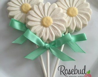 12 Chocolate Daisy Lollipop Favors Wedding Briday Anniversary Garden Tea Party Favors