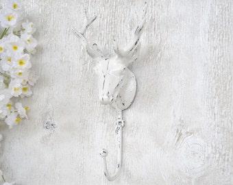 Deer Head Hook,Antlers,Cast Iron Hook,Shabby Chic