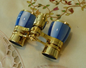 Vintage Birks Opera Glasses ~ Blue Mother of Pearl Opera Glasses ~  Blue Opera Binoculars ~  Theatre Glasses ~ Mini Binoculars