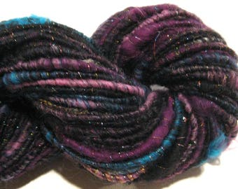 Super Bulky Handspun yarn Bewitched 94 yards autowrapped black yarn corespun yarn knitting supplies crochet supplies Waldorf doll hair