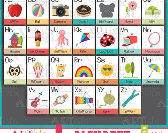 Alphabet Flash Cards, Educational Flash Cards, Learning Tool, Colorful, Instant Download, Digital Download
