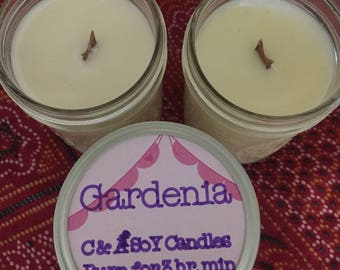 Gardenia Hand-Poured Soy Wood Wick Candle // Summer Candle // Floral