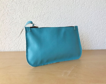 Blue Leather Clutch. Small Leather Pouch. Blue Leather Pouch. Passport Leather Pouch. Leather Makeup Pouch.