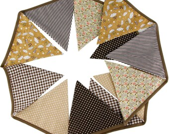 Cotton Pennant Bunting in Shades of Brown ~ 3.2m *Baby Shower *Nursery *Garden Party