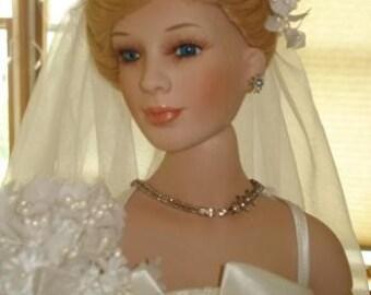 Gorgeous Replica Wedding Gown on Porcelain Dolls Custom Make Your Dress