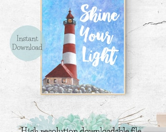 Lighthouse Shine Your Light Quote Printable by TeaTimeCreative   Original Acrylic Painting Print 8x10