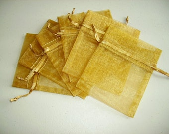 50 6''x8'' Gold  Organza Jewelry Gift Pouch Bags Great For Wedding favors, sachets, beads, jewelry, and more