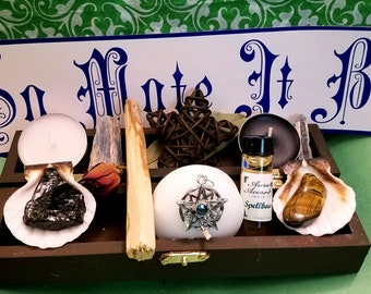 Pagan Wiccan Wooden Trinket Box with Gemstones and Candles