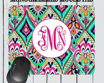 Monogram Mousepad - Lily Pulitzer Inspired Mousepad - Personalized Mousepad