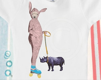 Organic baby clothes, organic onesie / bodysuit, lamb in bunny costume on rollerskates with rhinoceros