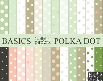 POLKA DOT digital paper. Shabby chic mint green, blush pink, olive green, sand beige, black and white patterns. Polka dot 24 PNG patterns.