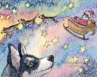 Siberian husky dog 5x7 8x10 11x14 art print Christmas holiday Xmas season sibes sled dogs Santa's sleigh by Susan Alison watercolor painting