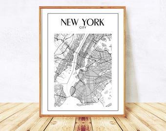 new york map new york city map manhattan map nyc map print