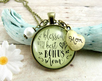 Blessed With The Best Bonus Mom Stepmother Gifts From Bride Groom Wedding Day Mother In Law Adoption Jewelry Vintage Style Bronze Keepsake