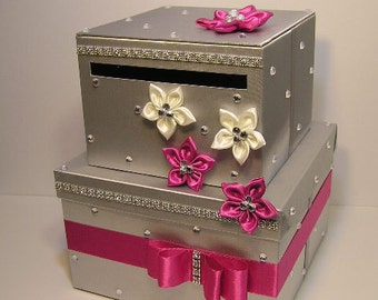 Wedding  Card Box Silver and Hot Pink Gift Card Box  Money Box Holder-Customize your color