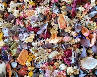 3 cups of dried flower petal confetti mix. Dried Flower Wedding toss, table decor, small dried flowers/petals, flower girl dried flower toss