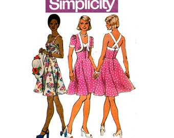 Simplicity 6388 Womens Fit and Flare Summer Sundress & Short Bolero 70s Vintage Sewing Pattern Size 10 or 12 Bust 32 1/2 or 34 inches