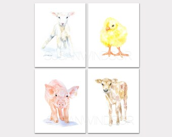 Watercolor Farm Animal Art Prints Nursery Childrens Room Set of 4 Lamb Chick Pig Calf - PORTRAIT-Vertical Orientation