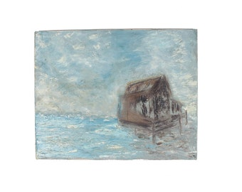 Vintage Oil Painting. Island House. Blue.