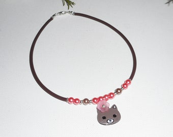 Necklace child cat enamel with pink glass beads and flowers on buna cord Brown