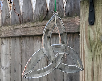Beveled Stained Glass Celtic Trefoil Sun-catcher, Clear,Hand Crafted and Made in America