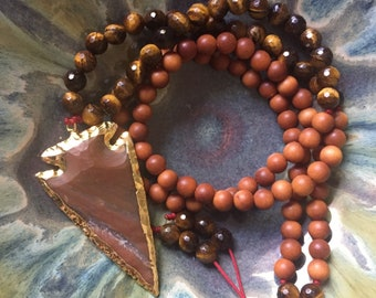 Sandalwood, Tigers Eye + Red Jasper Arrowhead Mini Mala | 108 Bead | 6 mm | Spiritual Junkies | Yoga + Meditation