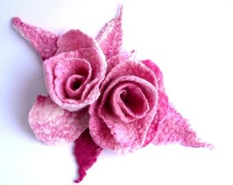 Felted flower brooch felt brooch felted brooch pink flower brooches felt brooches roses brooch felt brooches felted rose felt roses fiber