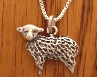 Sheep Pendant Necklace in Sterling Silver 925 Comes On 18 Inch Box Link Chain Wool Natural Color 4H FFA Livestock Jewelry